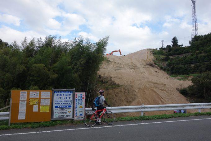 岩城島・岩城大橋の工事現場。岩城大橋が完成すると、ゆめしま海道が結ばれます。