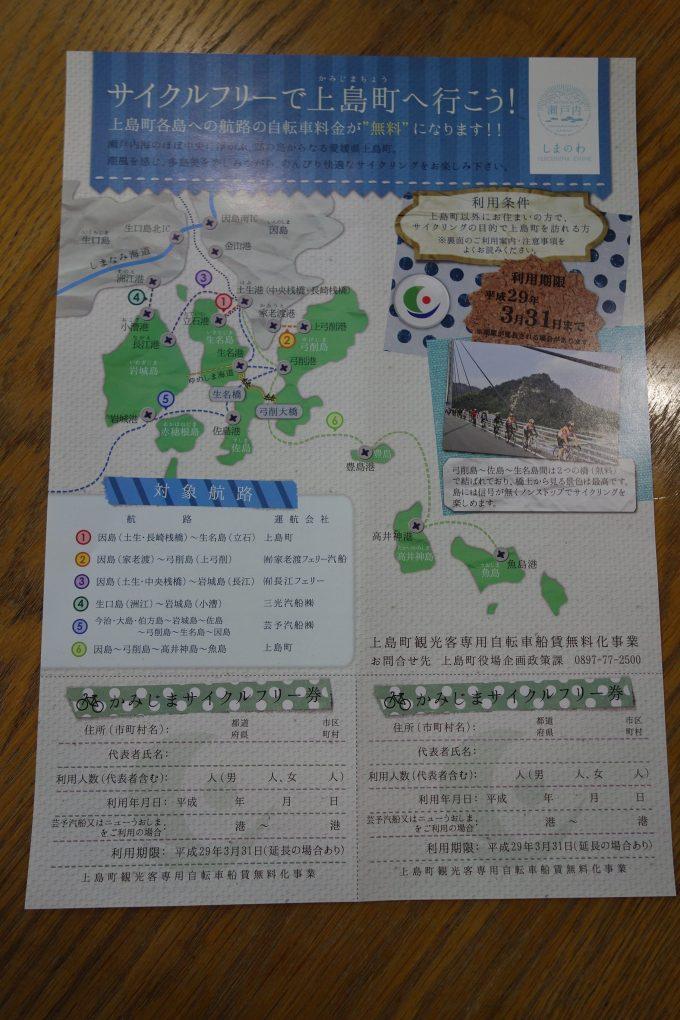 ゆめしま海道・上島町の各島への航路の自転車積載料金が無料になるチケット「かみじまサイクルフリー券」