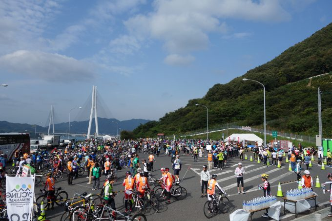 サイクリングしまなみ エイドステーションの瀬戸田パーキングエリア