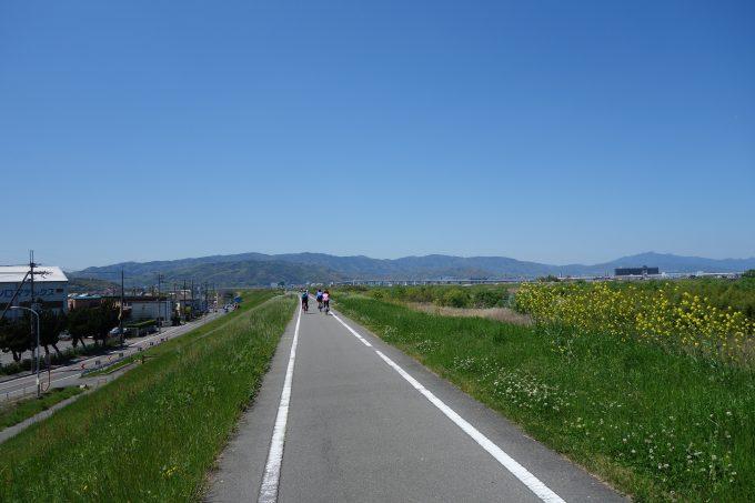 木津川の堤防を走るロードバイク