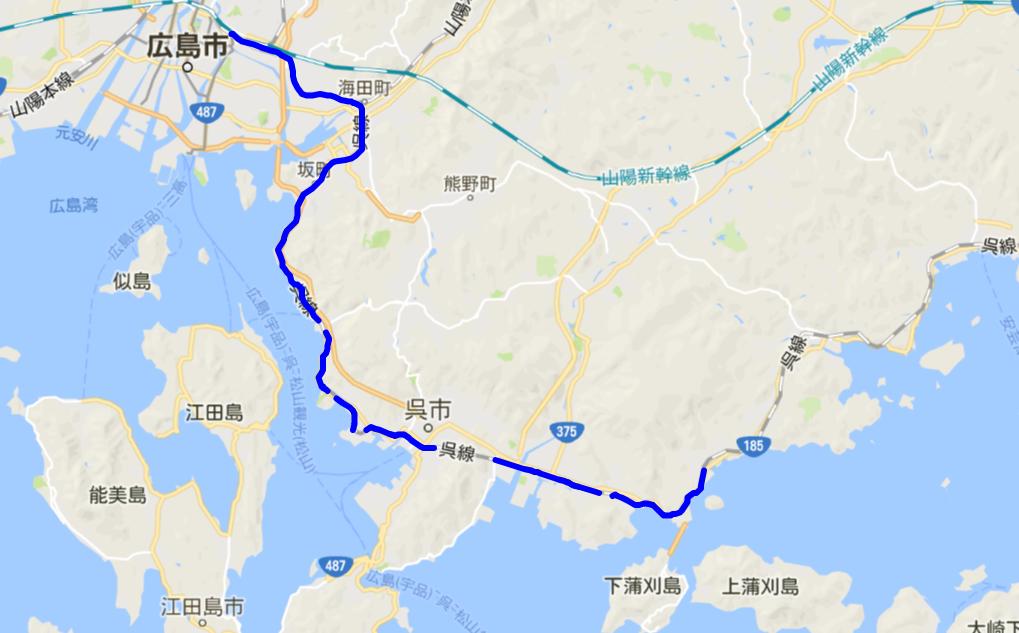 広島駅-安芸川尻駅線路図