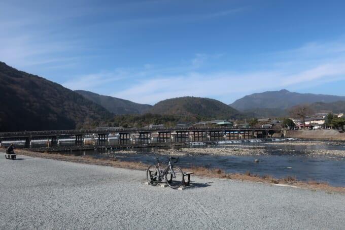 桂川サイクリングロードの自転車道の終点 嵐山渡月橋