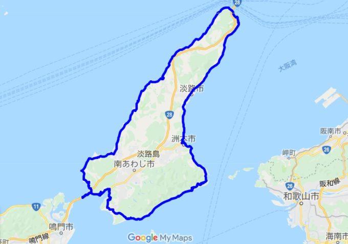 淡路島一周サイクリング アワイチのルート