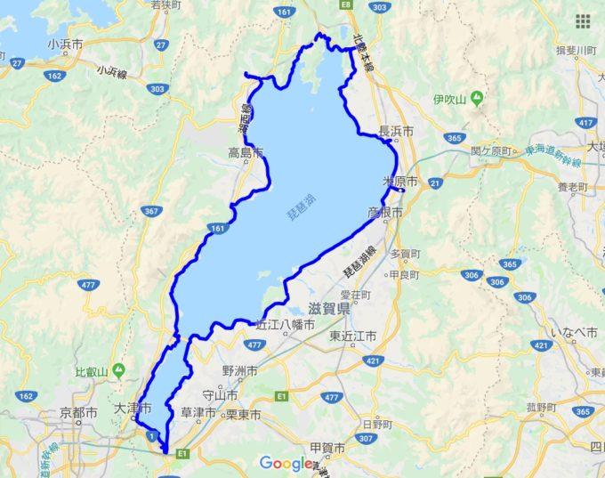 琵琶湖一周サイクリング ビワイチのルート
