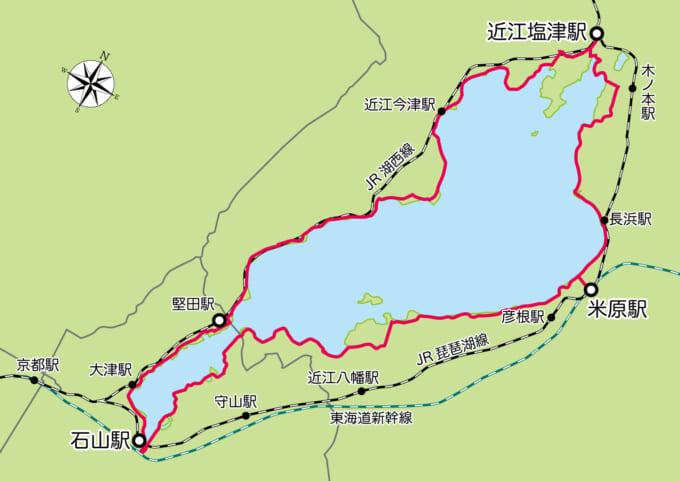 琵琶湖一周ビワイチにアクセスできる電車の駅のマップ