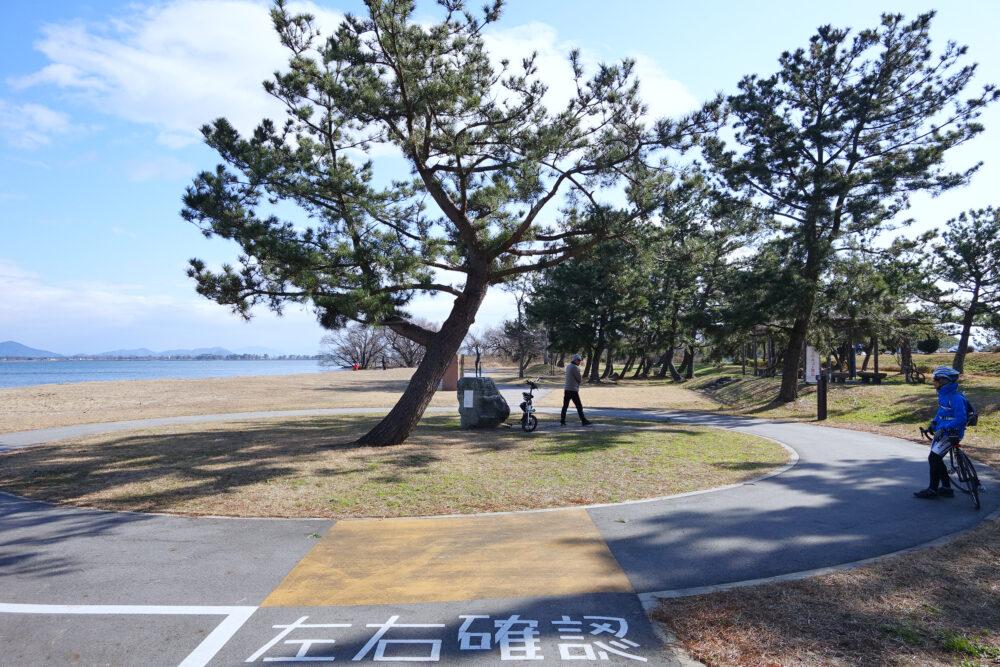 琵琶湖サイクリストの聖地碑のループ道