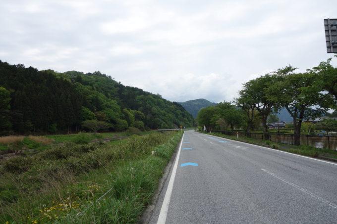 ビワイチ途中の木之本近く。サイクリングロードを示す青い矢印