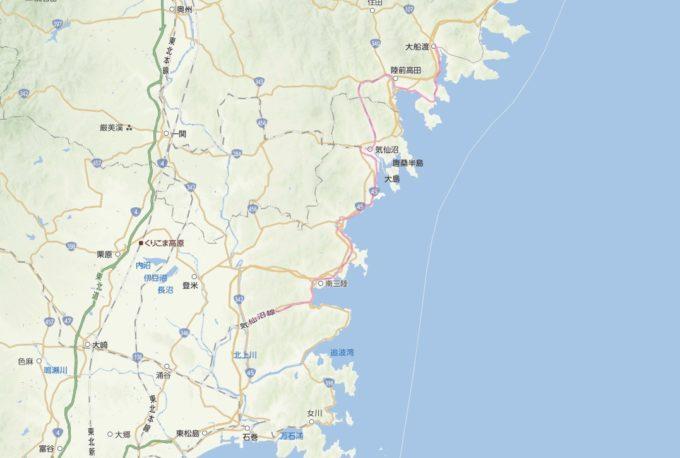 電車が不通となっている気仙沼線・大船渡線BRT運行路線図