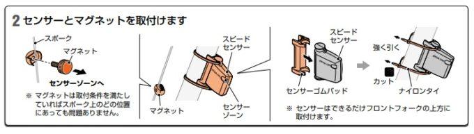 ワイヤレスサイコンのセンサー取り付け方法