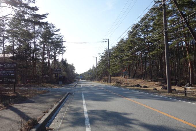 河口湖と西湖の間の広い道路