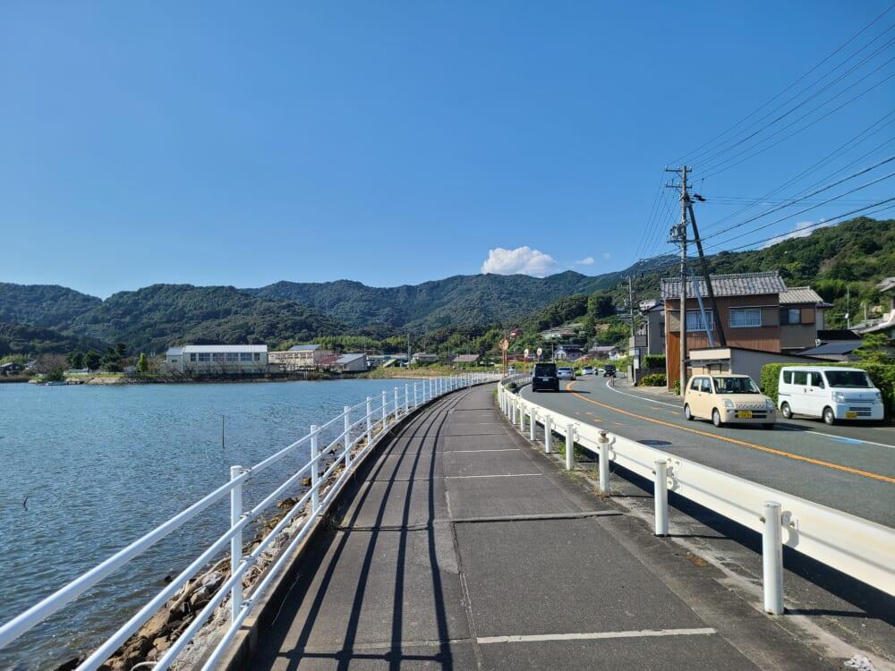 浜名湖西気賀の湖岸道路