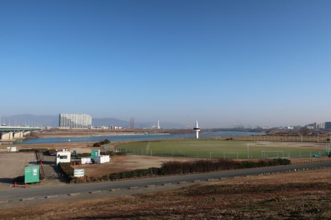 淀川サイクリングロード 枚方大橋からの景色