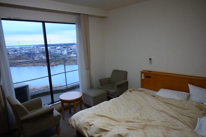 かすいち宿泊におすすめホテル ホテルグリーンコア土浦の窓から見える霞ヶ浦