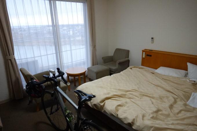 ホテルグリーンコア土浦 ロードバイクを持ち込んだ、霞ヶ浦が見える部屋