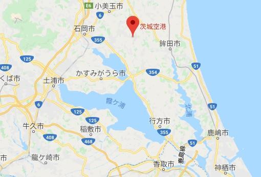 霞ヶ浦一周サイクリング かすいちのスタート地点 茨城空港の位置