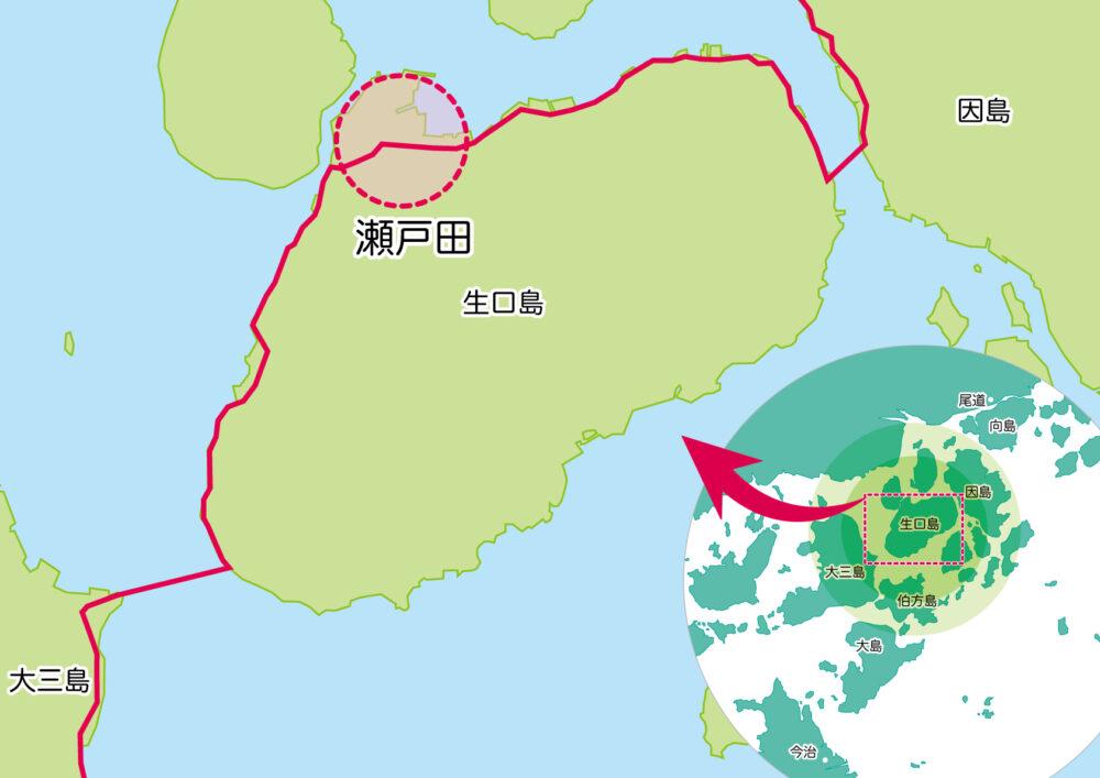 しまなみ海道生口島 瀬戸田の位置