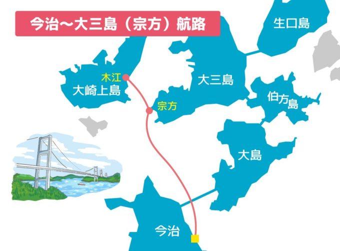 しまなみ海道のフェリー 今治~大三島(宗方)~大崎上島航路マップ