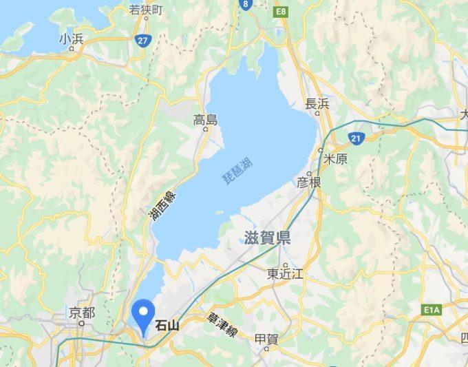 琵琶湖一周サイクリング ビワイチのスタート地点 石山の位置