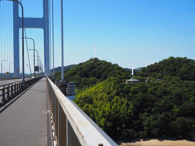 来島海峡大橋から見える来島海峡展望館と糸山展望台