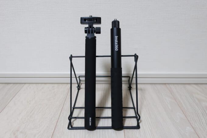 リコーシータとInsta360の自撮り棒