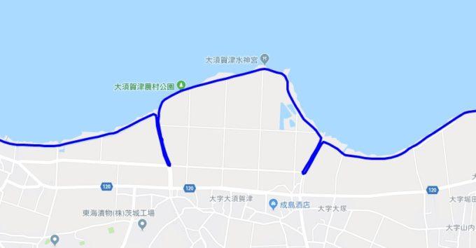 霞ヶ浦西側の細かい道を走るルート