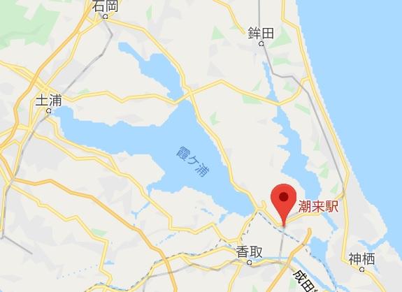 霞ヶ浦一周サイクリングかすいち 潮来駅の位置