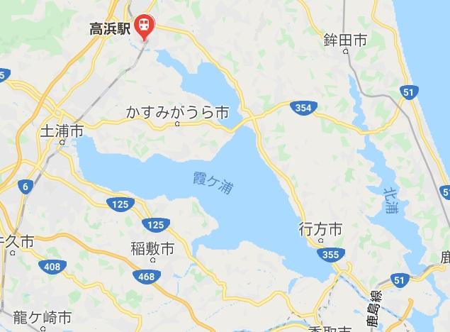 霞ヶ浦一周サイクリングかすいち 高浜駅の場所