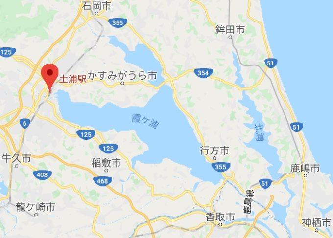 霞ヶ浦一周サイクリングかすいち 土浦駅の場所