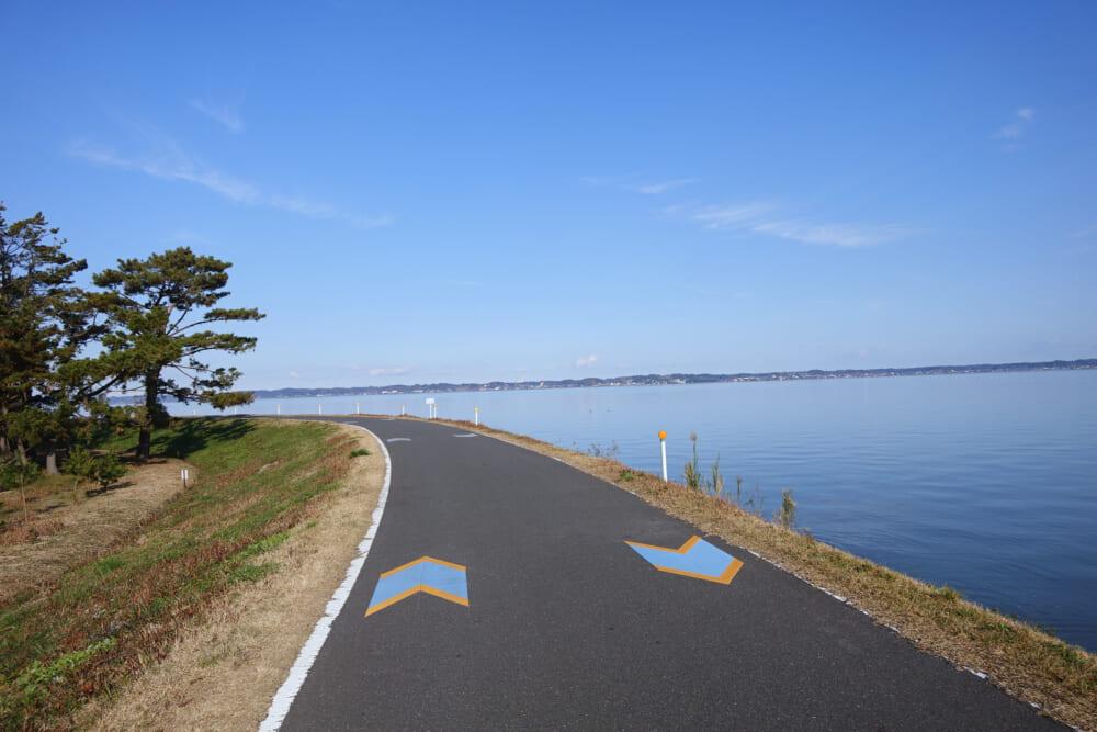 霞ヶ浦一周かすいちのサイクリングロードの風景
