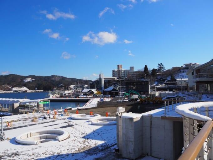 気仙沼ピア7の工事中の敷地