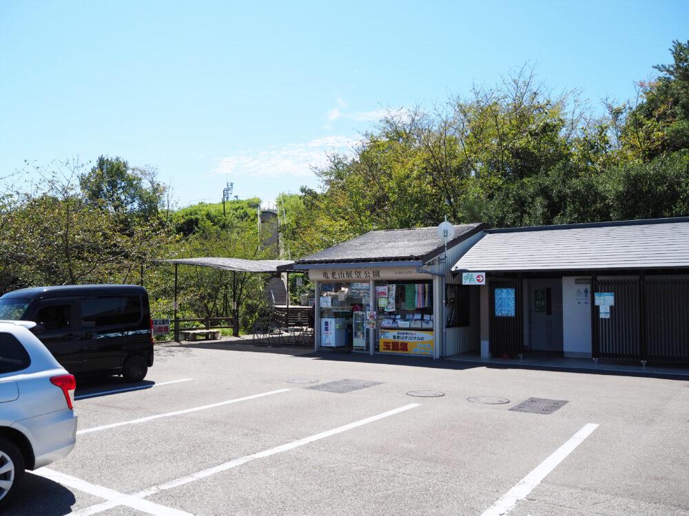 しまなみ海道大島 亀老山展望台の駐車場と売店