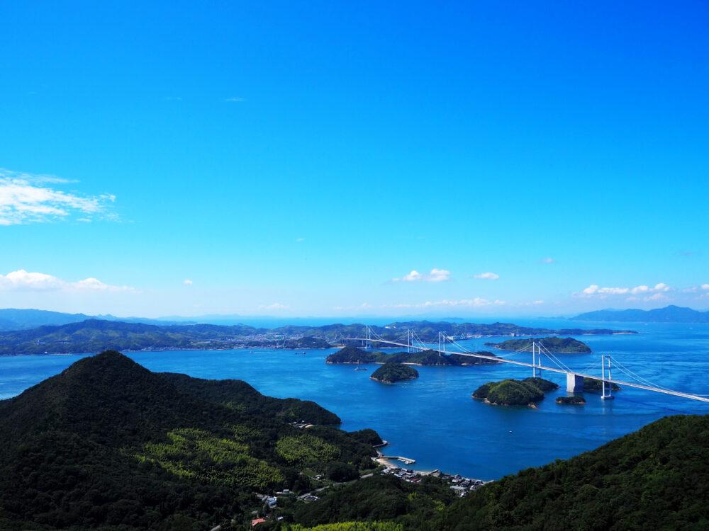 しまなみ海道大島 亀老山展望台からの来島海峡大橋