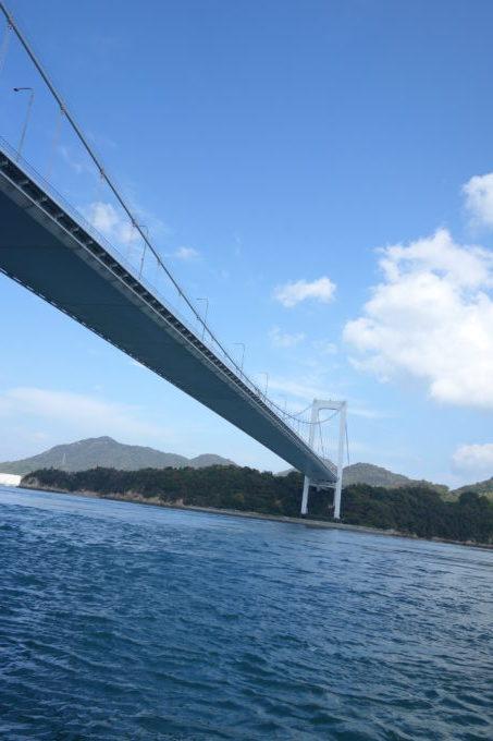 しまなみ海道 来島海峡大橋の下を通過