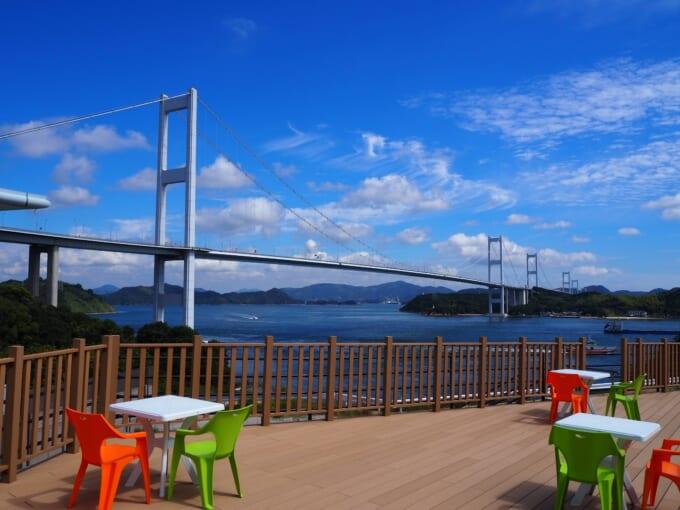 来島海峡大橋を見る展望デッキ