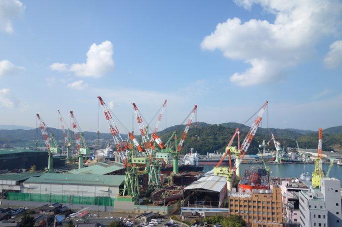 来島海峡大橋の造船工場