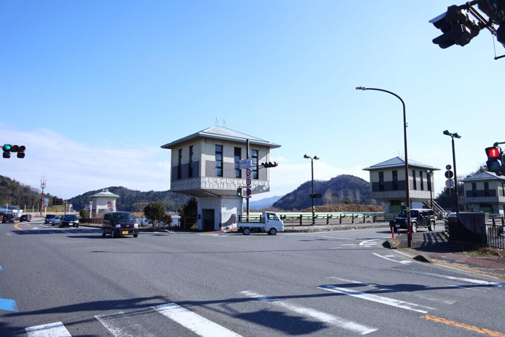 琵琶湖 渡合橋北詰め交差点