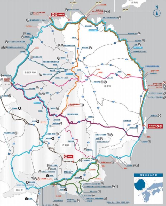 国東半島仁王輪道コースマップ