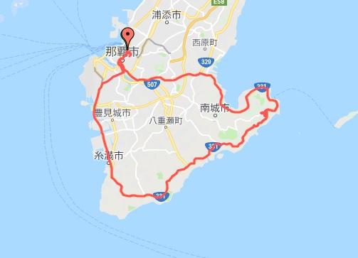 沖縄本島南部一周サイクリング 一周コース