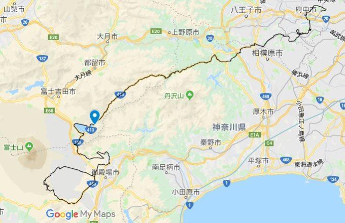 2020東京オリンピックロードレースコース 山中湖平野交差点の位置