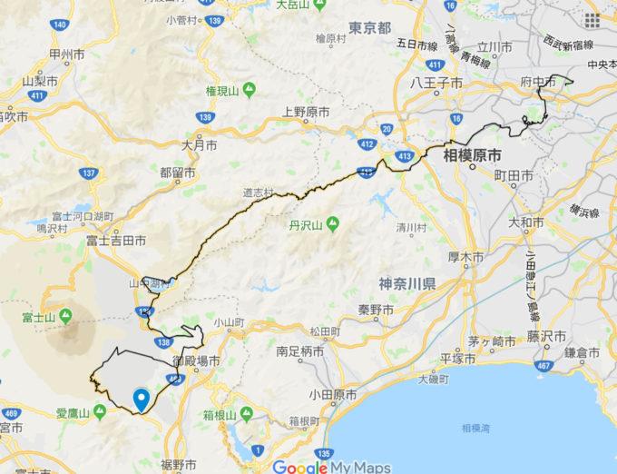 2020東京オリンピックロードレースコース 十里木交差点の位置