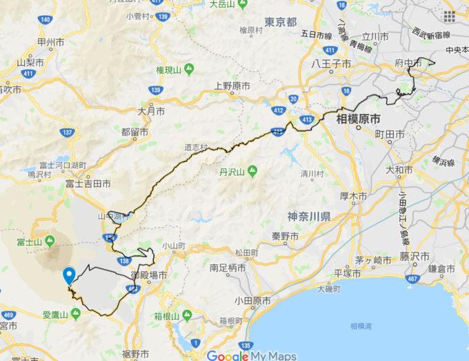 2020東京オリンピックロードレースコース 水ヶ塚公園 森の駅富士山の位置