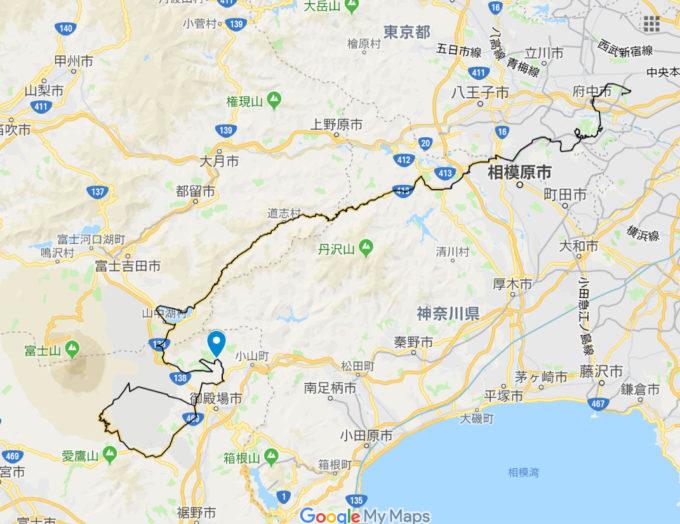 2020東京オリンピックロードレースコース 富士スピードウェイの位置