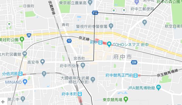 府中駅、府中本町駅の地図
