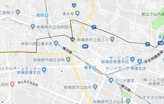 橋本駅、相原駅の地図