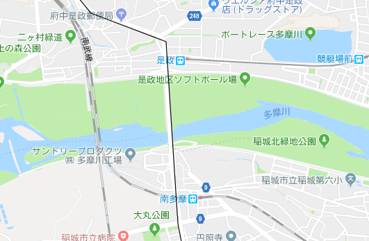 是政駅、南多摩駅の地図