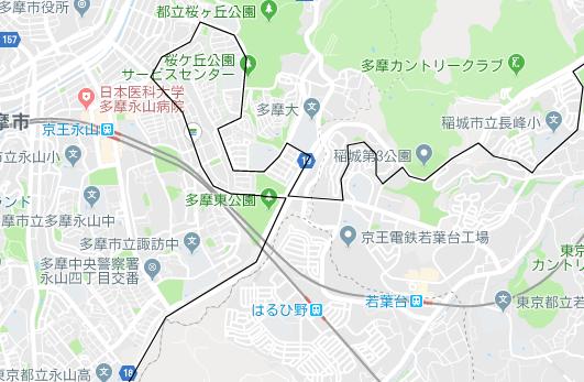 永山駅、はるひ野駅の地図