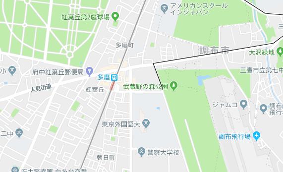 西武多摩川線 多磨駅の地図