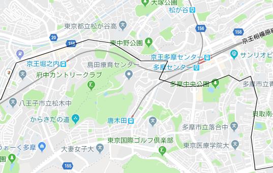 多摩センター駅、京王堀之内駅の地図