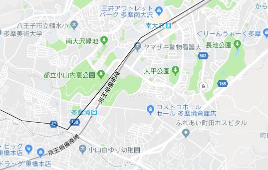 南大沢駅、多摩境駅の地図