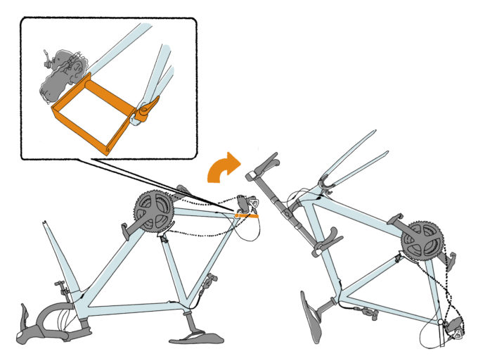輪行手順イラスト エンド金具の付け方